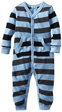 Splendid Littles Baby-Boys Newborn Charcoal Rugby Stripe Mix Playsuit, Sky, 6-12 Months