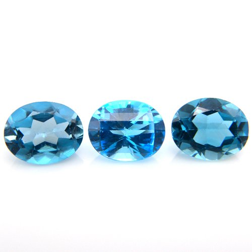 Natural Blue Topaz Loose Gemstone Oval Cut 9.35cts 10*8mm 3pcs Wholesale Lot