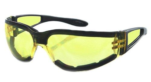 Bobster Shield Sport Sunglasses,Black Frame/Yellow Lens,one size