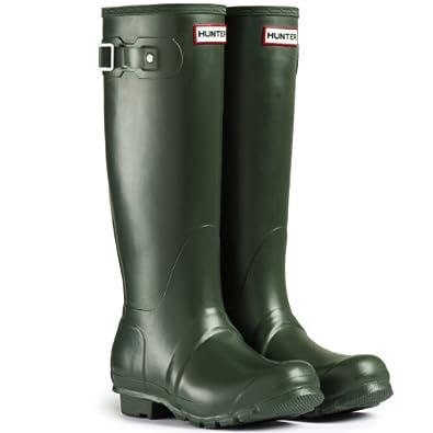 Mens Hunter Wellington Boots Original Tall Rainboots Snow Wellies New - Dark Olive - 7