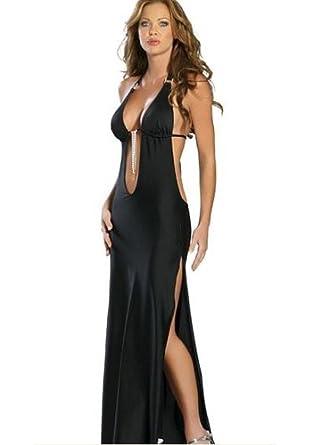 robe longue noire soiree sexy clubwear gogo lingerie coquine v tements et accessoires. Black Bedroom Furniture Sets. Home Design Ideas