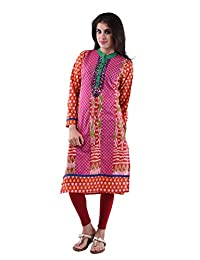 AARR Cotton Pink Full Sleeves Kurta For Women