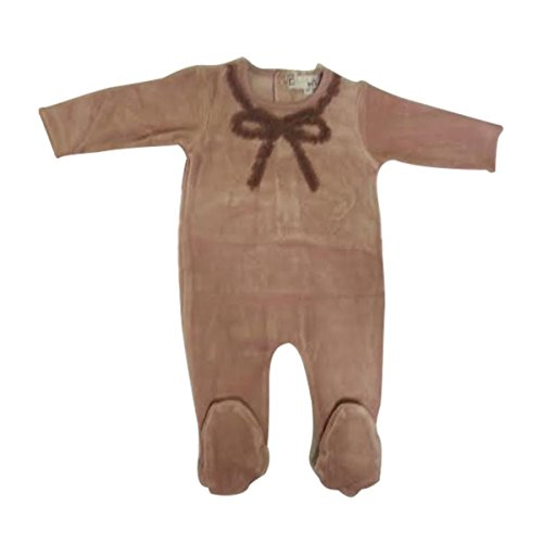 Baby Girl Footie Romper Overall Frogsuit 1 Piece Velour Sleeper Beautiful Bow (6M)