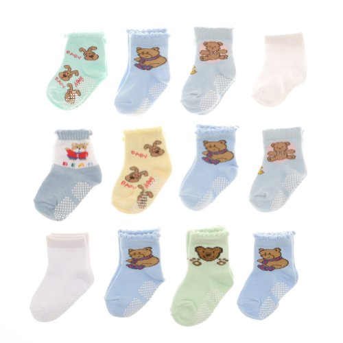 Swan 12 Pairs Cotton Baby Socks with Non Skid Bottom 0319