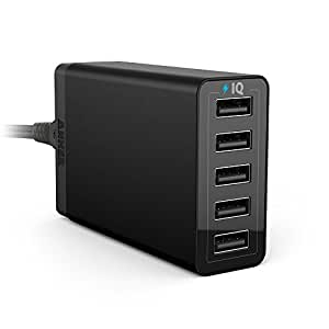 Anker® 40W 5-Port Family-Sized Desktop USB Wall Charger with PowerIQTM Technology for iPhone 6 5S 5C 5 4S, iPad Air, Mini, Galaxy S5 S4 S3, Note 4 3, Tab 4 3 2 Pro, HTC One (M8), Google Nexus 4 5 7 10, PS Vita, Gopro and more (Black)