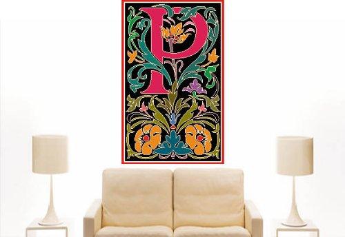 Imagen 2 de Etiqueta de la pared multicolor MF084 P Carta maravilloso ornamento al planta de flor tribal 120 x 73 cm