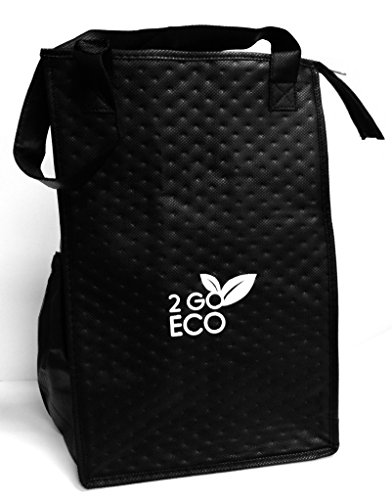 2goEco Black Eco-Friendly Lite 'n Tuff Tall Insulated Lunch Bag-Travel Cooler-Reusable Wine Tote (Small Cooler For Water compare prices)