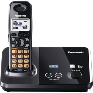 Panasonic KX-TG9321T 2-Line Cordless Phone, Metallic Black, 1 Handset