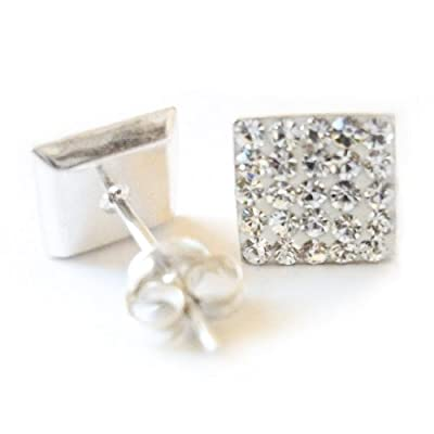 Bling Mens Sterling Silver 8mm Square Micro Pave Swarovski Crystal Stud Earrings - White/Clear - Beckham Style