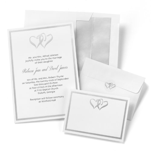 Hortense B. Hewitt Wedding Accessories Silver Double Heart Invitation Kit