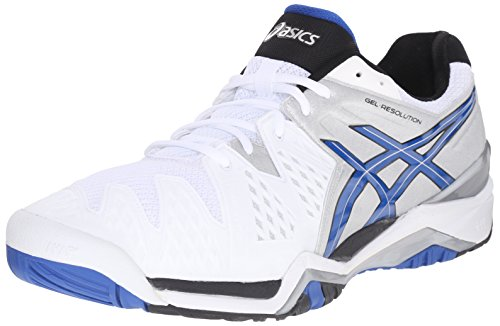 ASICS Men's Gel-Resolution 6 Tennis Shoe,White/Blue/Silver,13 D(M) US