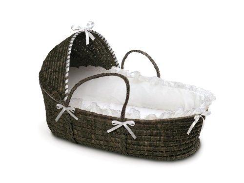 Badger Basket Moses Basket With Hood And Bedding, Espresso/White Color: Espresso/White Newborn, Kid, Child, Childern, Infant, Baby