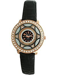 ASHLEY Rose Gold Black Dial Black Leather Strap Analogue Watch For Girls-Women (ASY0543)