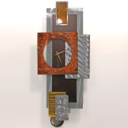 Metal Battery Pendulum Wall Clock Home Decor Abstract Design Tectonic