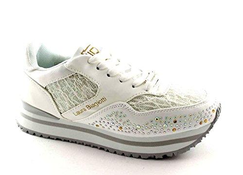 LAURA BIAGIOTTI 892 white bianca scarpe donna sneakers brillantini 38