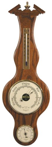 Banjo Barometer Thermometer Hygrometer in Dark Oak by West and Company
