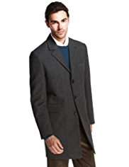 Notch Lapel 3 Button Textured Coat with Wool