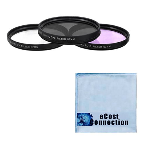 67 Mm High Resolution Pro Series Multi Coated Hd 3 Pc. Digital Filter Set + Microfiber Lens Cloth For Tamron Zoom Wide Angle-Telephoto Af 28-75Mm F/2.8 Xr Di Ld Aspherical (If) Autofocus Lens, Zoom Super Wide Angle Sp Af 17-50Mm F/2.8 Xr Di Ii Ld Aspheric