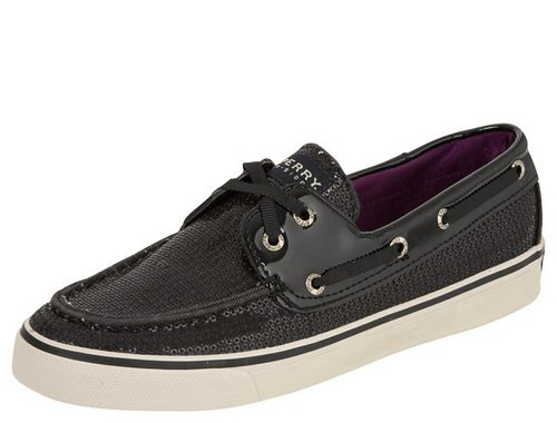 Sperry Top-Sider Women's Bahama, Black Sequin Boat Shoe Choose Size: 8.5 (Euro 39)