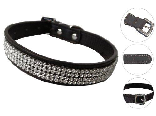 mammoth-xt-rhinestone-crystal-diamond-black-leather-collar-dog-puppy-cat-pet-medium