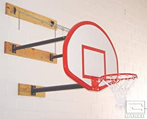 Three-Point Wall Mount Basketball System with 42 x 72 Glass Backboard and 4-6 Foot... by Gared