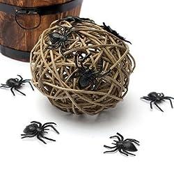10pcs Black Halloween Plastic Black Spider Joking Toys