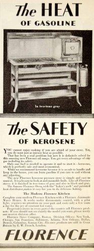 1928 Ad Florence Stove Kerosene Oil Gas Range Kitchen Appliance Oven Household - Original Print Ad