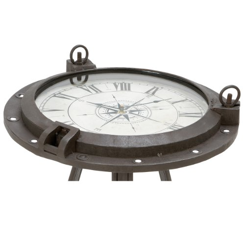Urban Designs Industrial Porthole Metal Round Clock Coffee & End Table 1