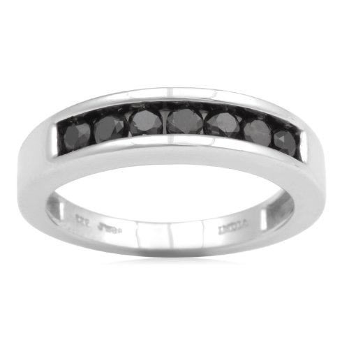 Sterling Silver Black Diamond Anniversary Ring (1/4 cttw, I-J Color, I3 Clarity), Size 8