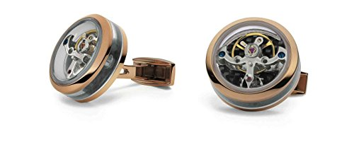 Tf Est. 1968 Open Side Rose Gold Plated Tourbillon Cufflinks