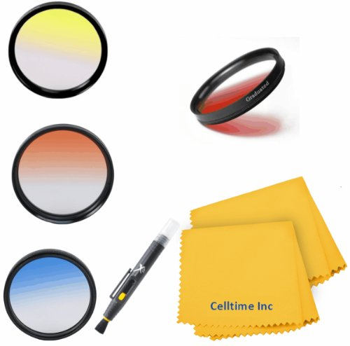 Celltime Elite 72Mm Lens Filter Kit For Canon (Ef 35Mm F/1.4L, Ef 85Mm F/1.2L Ii, Ef 135Mm F/2L), Nikon (85Mm F/1.4, 18-200Mm F/3.5-5.6G) Lenses - Includes: Graduated Color Filter Kit (Red, Green, Yellow And Blue) + Lens Pen + Celltime Elite Cleaning Clot