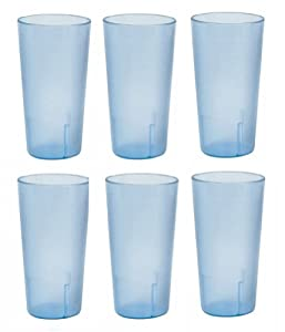 20 oz.Restaurant Quality Stackable Tumblers-Break Resistant Cup- Set of 6 - Blue by Thunder Group