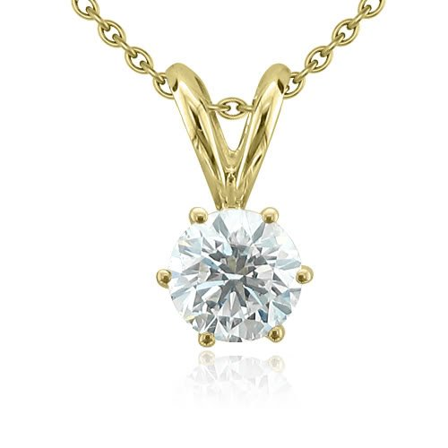 14k Yellow Gold 6-Prong Solitaire Natural Diamond