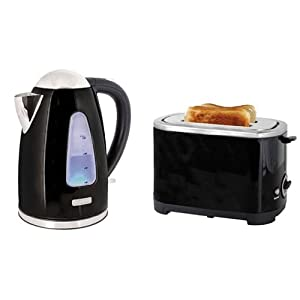 kettle and toaster set in black steel kitchen home. Black Bedroom Furniture Sets. Home Design Ideas