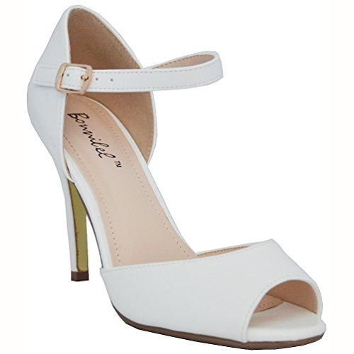 Bonnibel Women's Alina-1 Peep Toe Stiletto Ankle Strap Dress D'orsay Pumps, White