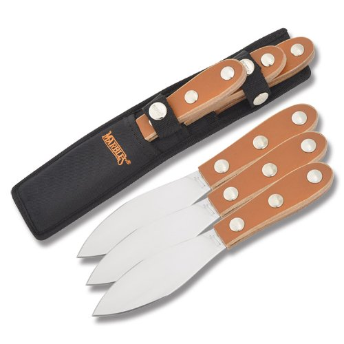 Marbles Outdoors Knives 288 Three Piece Throwing Knife Set Brown Leather Onlay Handles