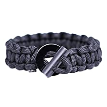 buy Outdoor Kingdom Adjustable Paracord Bracelet With Compass, Magnesium Fire Starter And Stainless Steel Knife Scraper (Black)