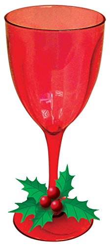 Red Plastic 8oz Wine Glasses with Holly Embellishment