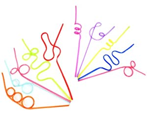 Curly/Wiggley Drinking Straws 10/Pack (colours/shapes may vary in each pack)
