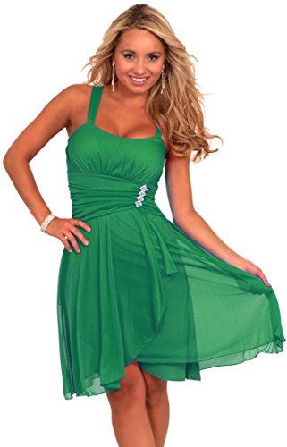 Sleeveless Rhinestone Empire Waist Sheer Layer Evening Cocktail Party Dress (Medium, JADE)
