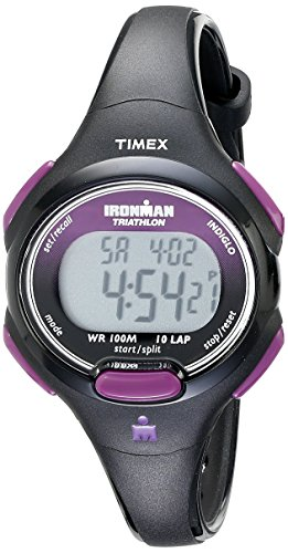 timex-womens-t5k523-ironman-essential-10-mid-size-black-purple-resin-strap-watch