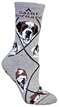 Saint Bernard Dog Gray Cotton Ladies Socks