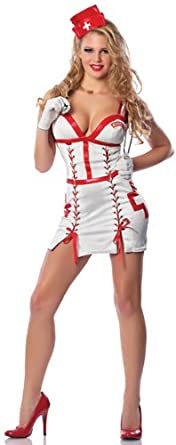 Delicious Women's Nightengale Sexy Nurse Costume, White/Red, Medium/Large