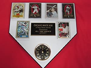 Chicago White Sox ALL TIME GREATS 6 Card Collector HOME PLATE Clock Plaque EXCLUSIVE... by J & C Baseball Clubhouse