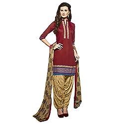 Bhelpuri Women Red Chanderi Dress Material