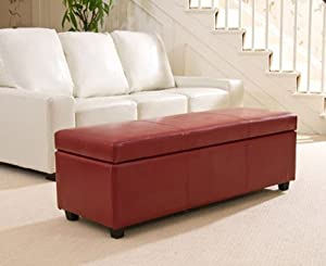 Brand New Red Extra Large Ottoman in Bonded Leather       reviews and more information