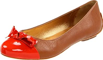 Kate Spade New York Women's Tabby Flat,Luggage/Tumbled Calf/Orange Patent,7 M US