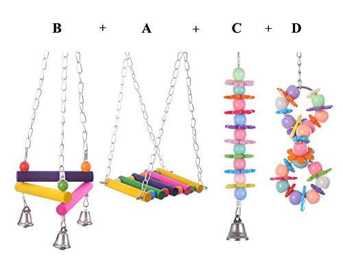 Yunt-Set-of-4-Pet-Bird-Parrot-Parakeet-Budgie-Cockatiel-Cage-Hammock-Swing-Toy-Hanging-ToyStyle-ABCD