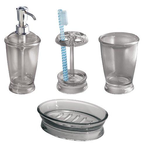 Interdesign franklin bath accessory set soap dispenser for Bathroom tumbler sets
