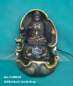 Image of Kuan Yin Water Fountain with Crystal Ball (B005FSTAJ4)
